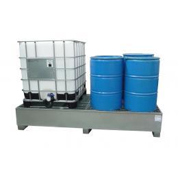 Bac de rétention en acier <br> 2 conteneurs 1000 L ou 8 fûts