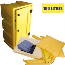 Kit anti-pollution chimique - Coffre  Absorption : 100 L