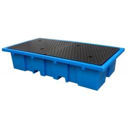 Bac de rétention en plastique <br> 2 conteneurs de 1000 L ou 8 fûts