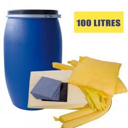 Kit anti-pollution chimique - Fût <br> Absorption : 100 L