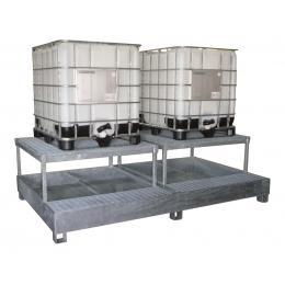 Bac de rétention en acier <br> 2 conteneurs de 1000 L