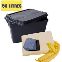 Kit anti-pollution chimique - Caisse  Absorption : 50 L