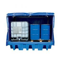 Bac de rétention fermé en plastique <br> 2 cuves 1000 L ou 8 fûts