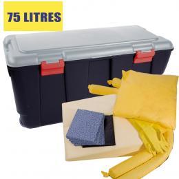 Kit anti-pollution  chimique - Coffre  Absorption : 75 L