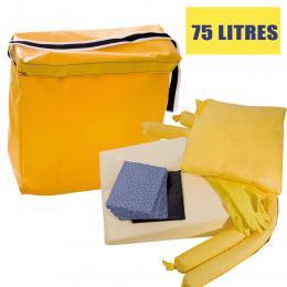 Kit anti-pollution - Produit chimique - Sac - Absorption : 75 L