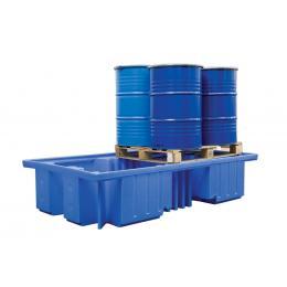 Bac de rétention en plastique <br> 2 cuves de 1000 L ou 8 fûts