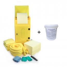 Kit anti-pollution chimique - Armoire avec neutralisant acide  Absorption : 290 L